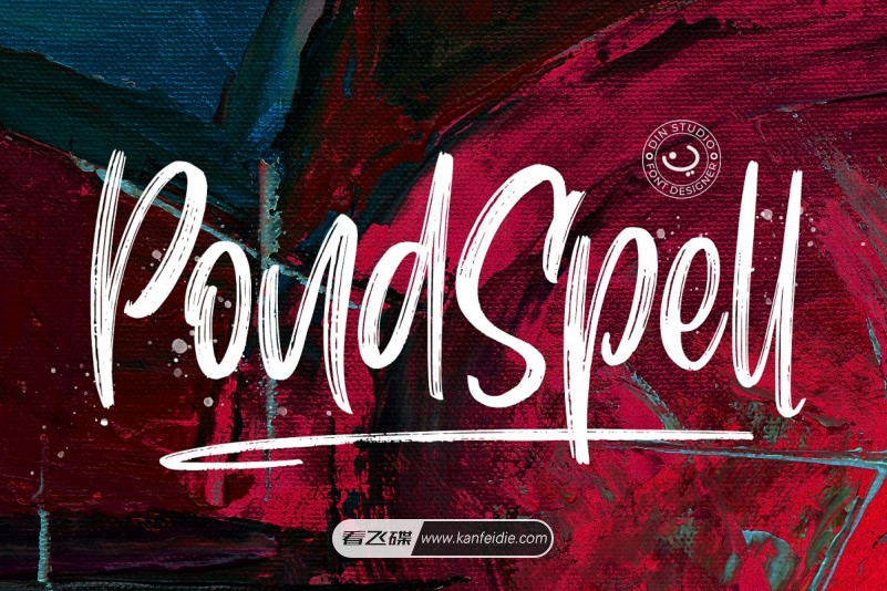 Pondspell字体,这是一枚干笔刷字体,经过作者精心制作,富有想象力,该字体具有典型的粗糙纹理。Pondspellt是一种画笔字体,使用自然画笔制成。笔刷字体的纹理将使您的设计更加美观和强大。该字体适用于任何设计,例如海报标题,设计投标,书名等。
