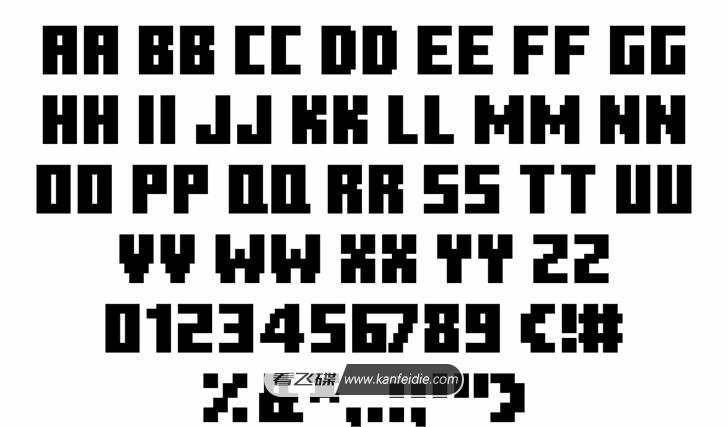 Minecraft Ten字体是一款和我的世界(Minecraft)标题一样风格的英文字体,看起来就像是用一个个小方块组成的,让我想起了以前玩的任天堂游戏机里面的像素文字,这款字体是全大写的英文加上阿拉伯数字以及几个常用的标点符号。非常适合需要添加卡通元素的设计作品。