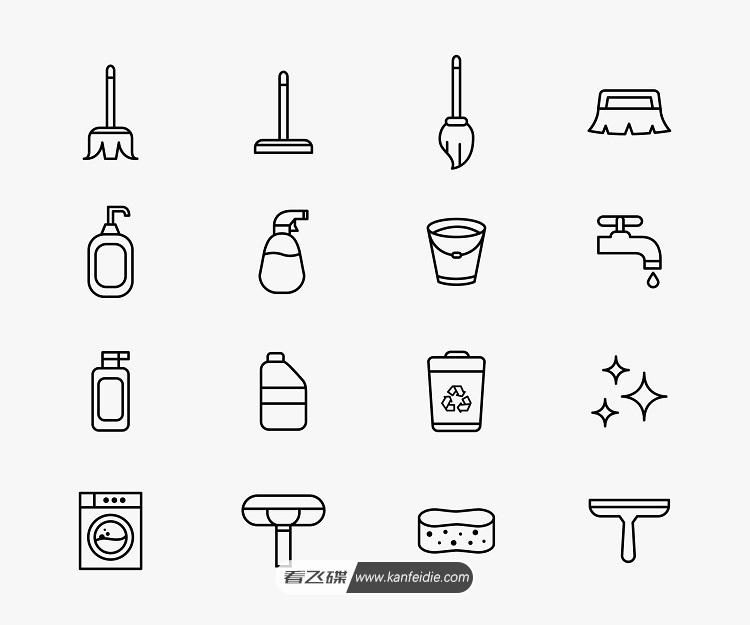 16个清洁用品矢量线条图标素材(AI)
