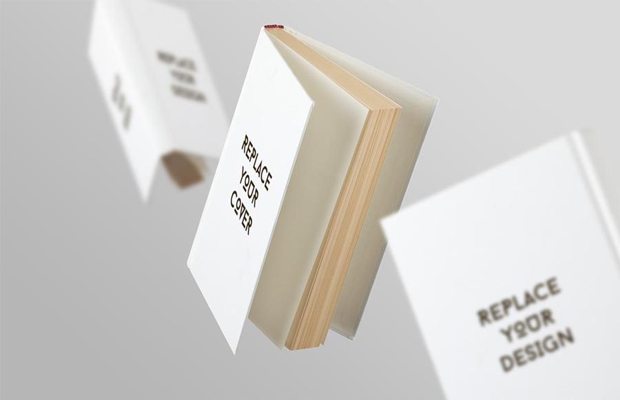漂浮的白色书本封面样机图片素材