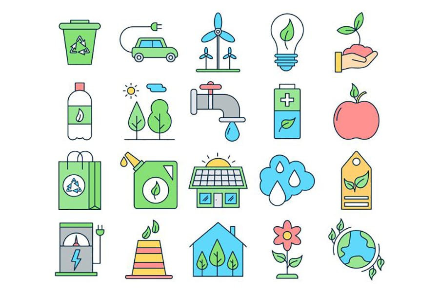 绿色出行保护生态环境矢量图标素材
