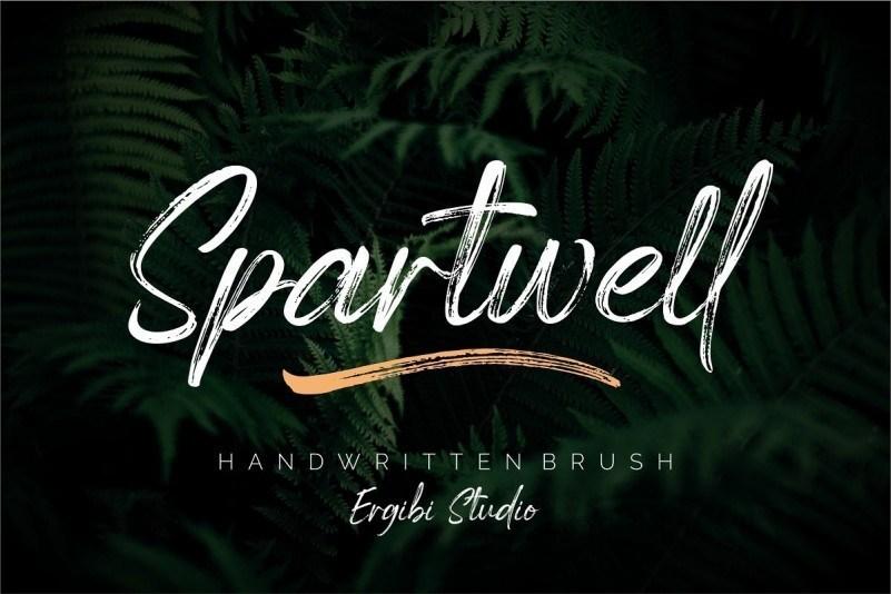 Spartwell逼真的毛笔书法干笔刷手写英文字体下载