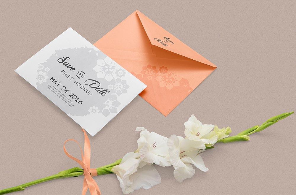 文艺浪漫的情书信封邀请函贺卡PSD样机素材下载