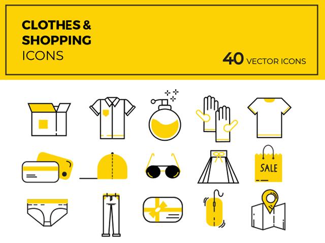 40个衣服短袖裤子等生活用品的矢量图标素材打包下载
