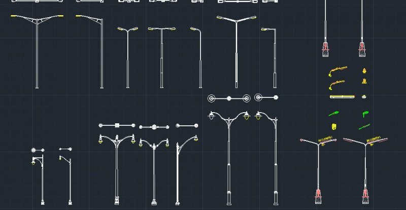 市区 大桥 园林 路灯杆CAD设计图例打包下载