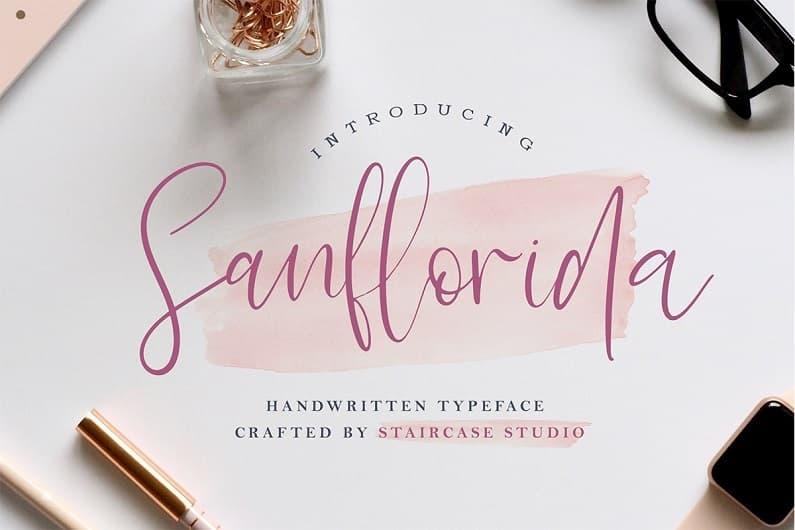 Sanflorida纤细毛笔手写字母连笔圆体英文字体下载