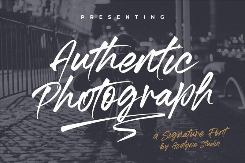 Authentic Photograph自然逼真的画笔手写英文字体下载