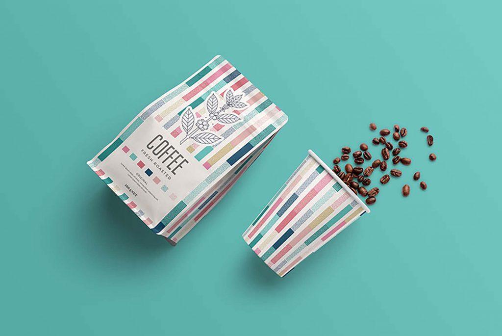 纸咖啡袋和纸咖啡杯包装设计效果图样机模板素材下载PSD