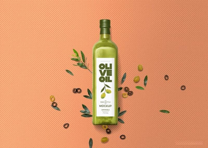 玻璃瓶橄榄油包装设计模板PSD样机素材设计源文件下载