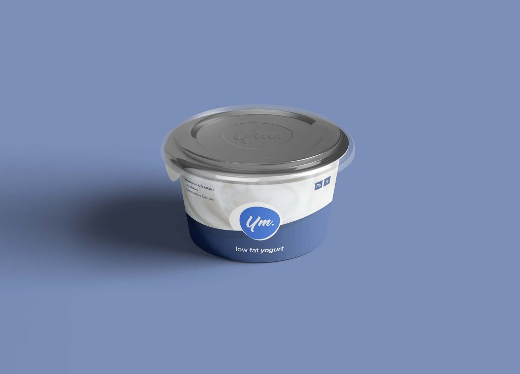 圆形酸奶冰淇淋纸盒包装设计素材PSD样机模板图片下载