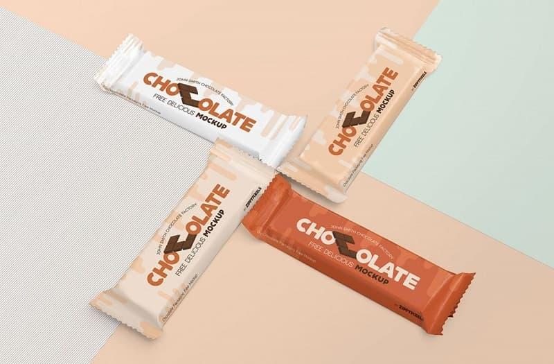 巧克力棒塑料包装袋设计样机图模板PSD设计素材下载