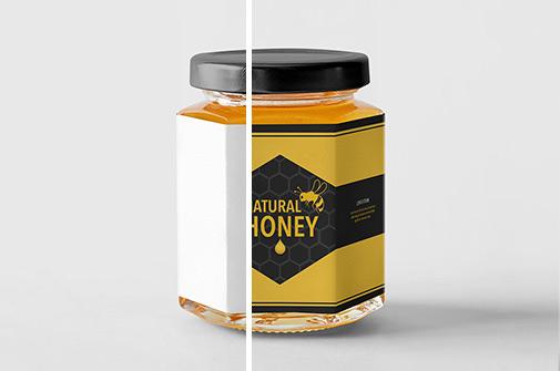 金属盖六边形玻璃瓶蜂蜜果酱包装设计样机模板素材PSD下载