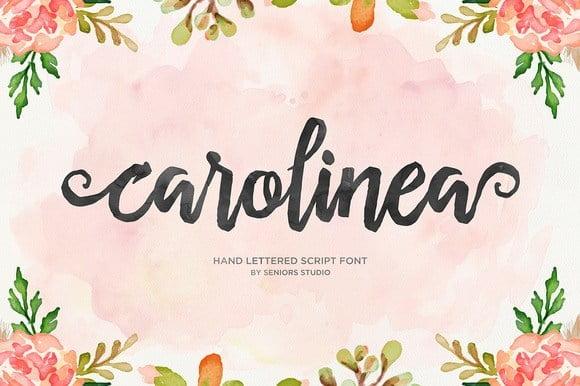 Carolinea画笔手绘水彩效果svg手写英文字体下载