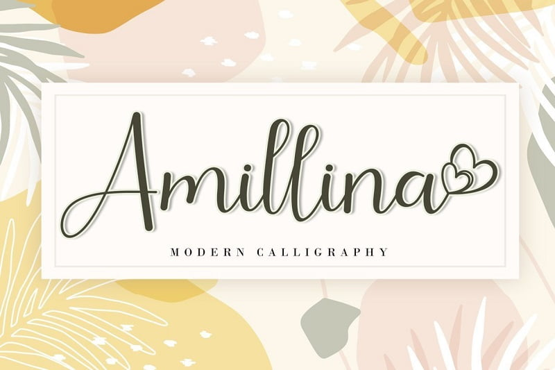 Amillina精致流畅花体手写英文字体下载