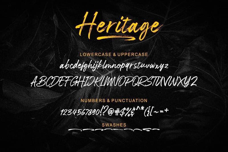 Heritage大气毛笔刷手写英文字体下载