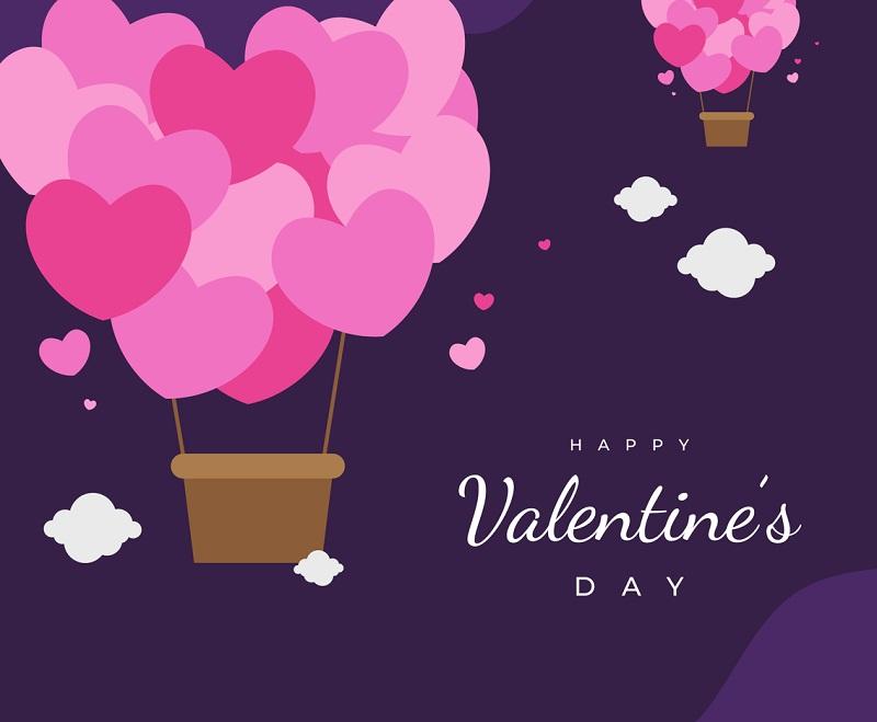 情人节矢量素材背景图 粉色爱心的热气球卡通手绘插图
