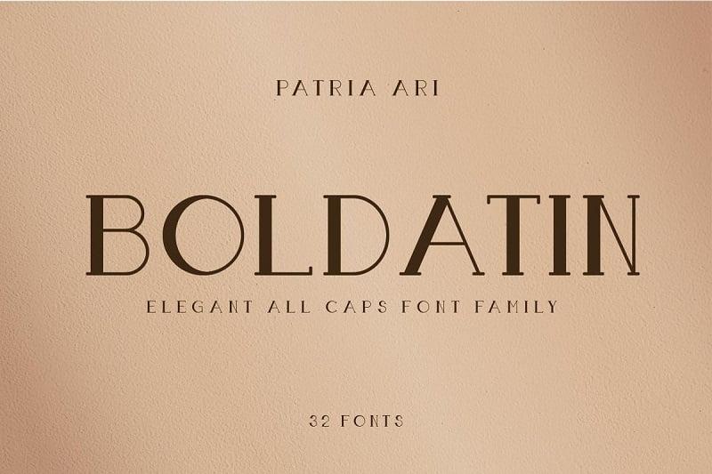 Boldatin一边粗一遍细的英文字体 标题设计高档衬线体字母