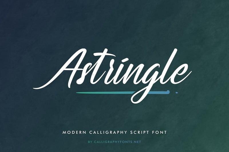 Astringle斜体艺术手写画笔手绘英文字体 logo设计常用字母