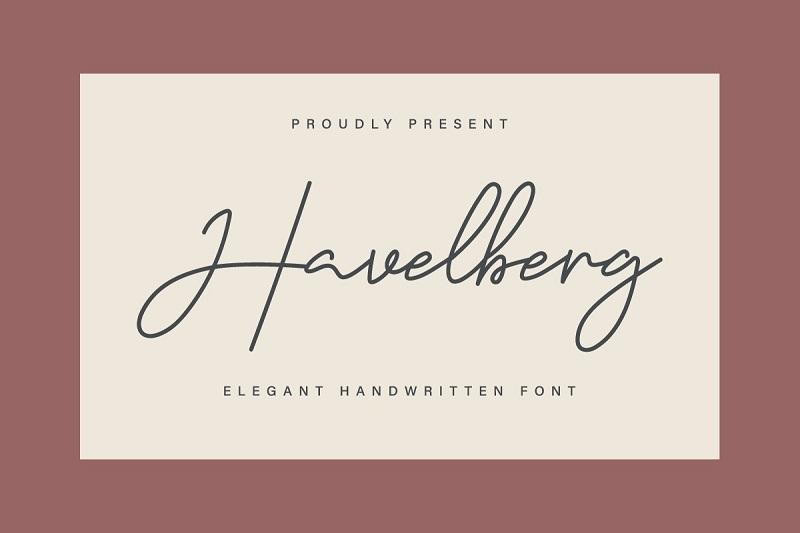 Havelberg纤细优雅连笔英文手写字体 ps包装设计推荐
