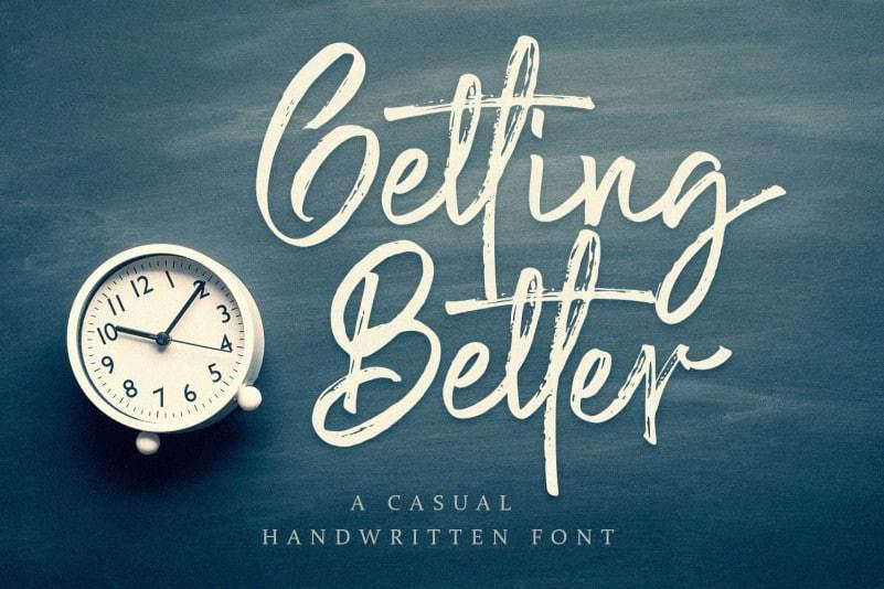 Getting Better封面设计大气笔刷英文书法字体下载