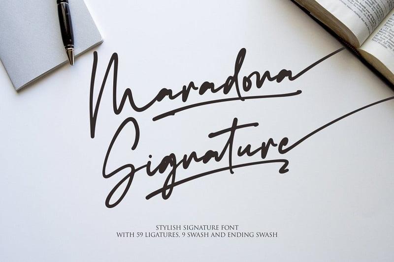 Maradona记号笔草书时尚手写连笔签名英文字体下载