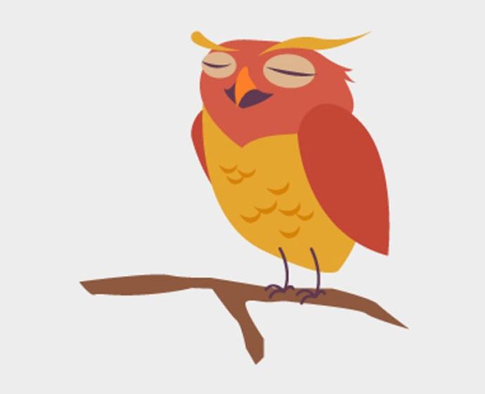 可爱的扁平化简约猫头鹰矢量图素材小鸟手绘插画.ai免费下载