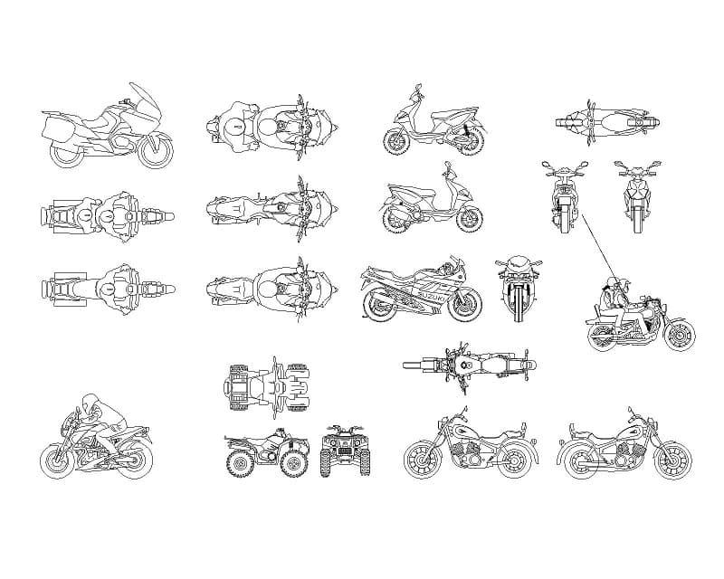 21张电动车摩托车踏板车重机cad图纸设计图块dwg打包下载
