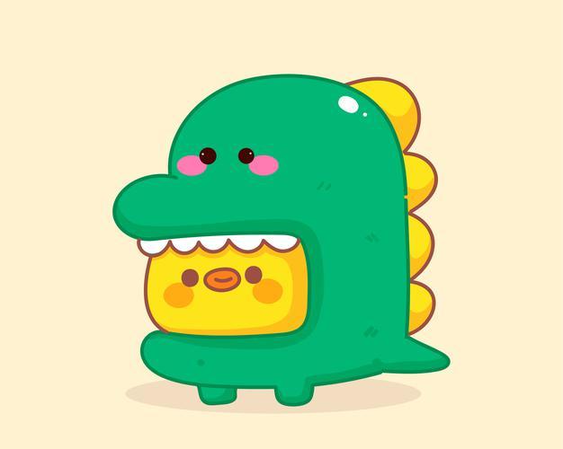 小黄鸡穿着绿色小恐龙衣服可爱手绘插画ai矢量图素材设计源文件下载