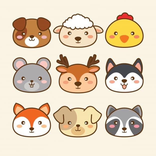 卡通可爱小动物头像矢量图素材下载ai印花图案设计源文件