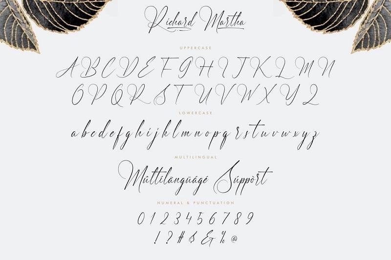 摄影 婚礼优美英文字体下载 Richard Martha 纤细自然手写书法签名字母