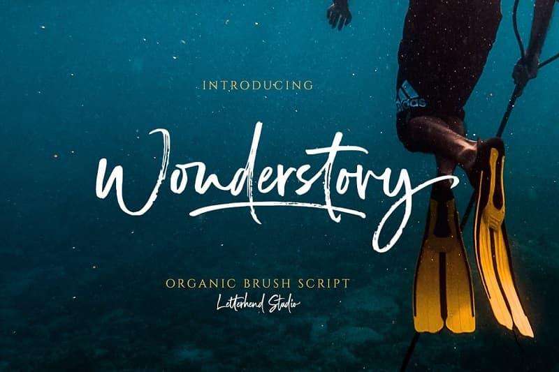 书法英文字体下载 Wonderstory干燥画笔手写字母