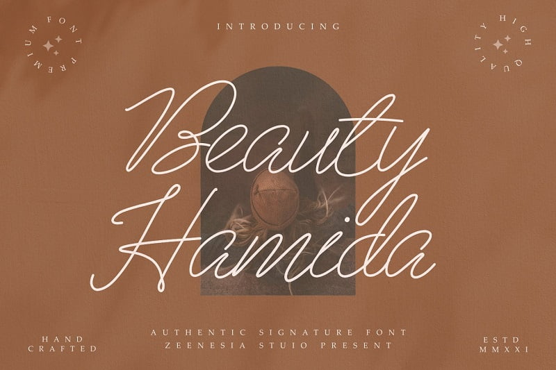 Beauty Hamida超细画笔连写草书英文手写字体