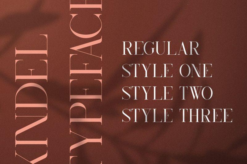 Kindel尖锐衬线英文字体|纤细高档感包装设计字母