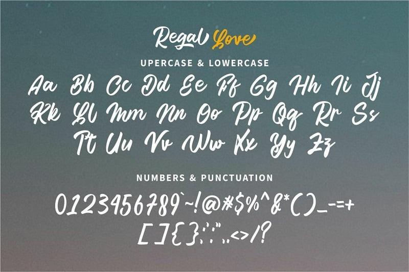 Regal Love加粗花式时尚连笔手写英文logo设计字体下载