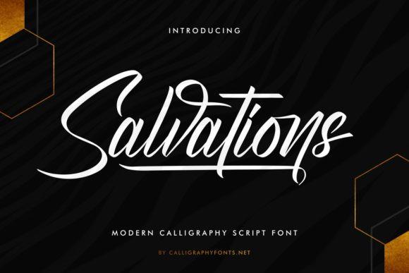 Salvations优雅流畅的手写书法英文字体下载