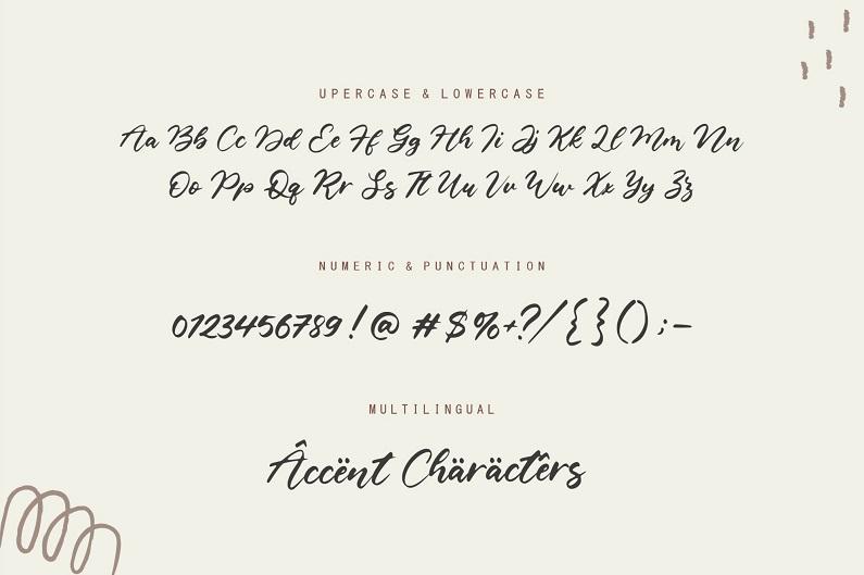 Castlena线条流畅的画笔书法手写圆润英文字体下载