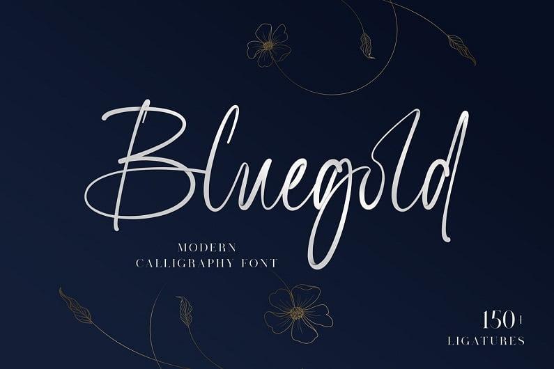 Bluegold现代书法手写英文字体免费下载-婚礼写真连写字母